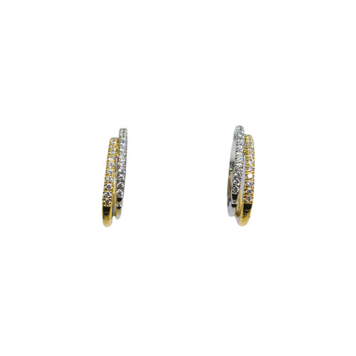 14K Gold Hoop Earrings with Round Brilliant Cut Diamonds