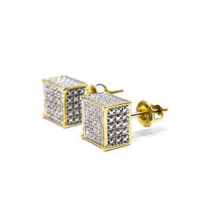 "10K Gold and Diamond ""Box Earrings"" with 0.30ct of Diamonds"