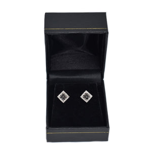 Black and White Diamond Earrings Set in 10K Gold