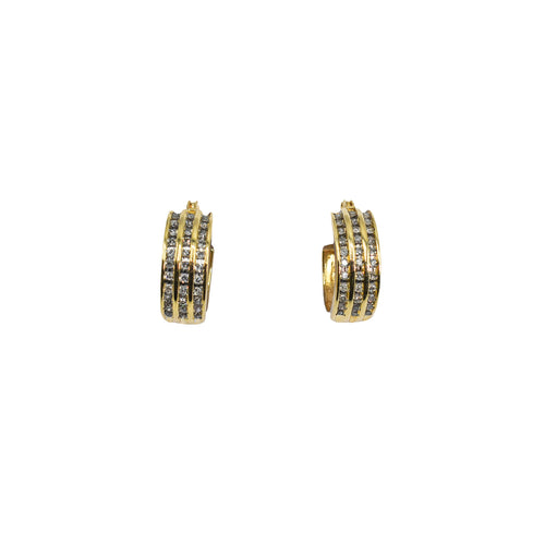 14K Yellow Gold Hoop Earrings with Three Rows of Diamonds