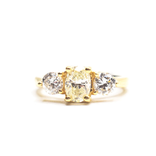 14K Gold Engagement Ring with 1.02ct Center Yellow Oval Diamond