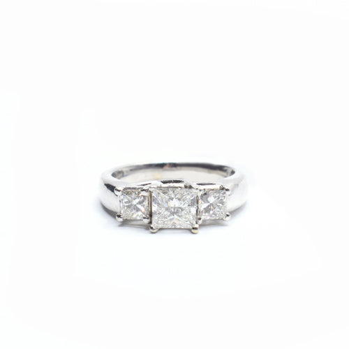 3 Stone Princess Cut Engagement Ring set in in 14K Gold with 1.80tcw
