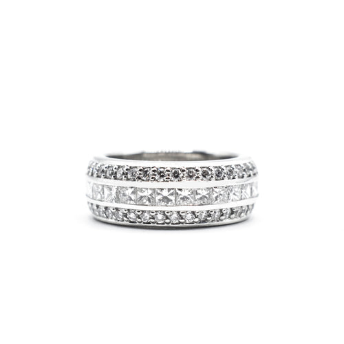 Platinum Wedding Band with 4.0ct of Three rows of Diamonds