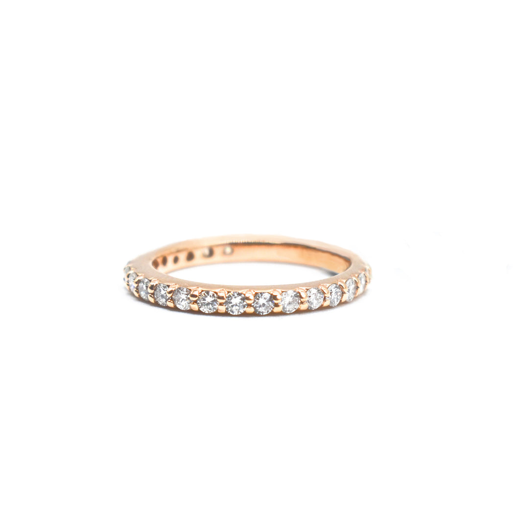 14K Rose Gold Wedding Band with 0.32ct of Diamonds