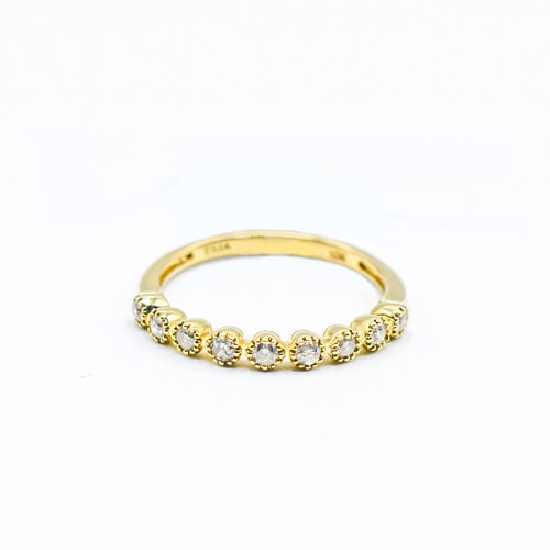 10K Gold Wedding Band with Diamonds