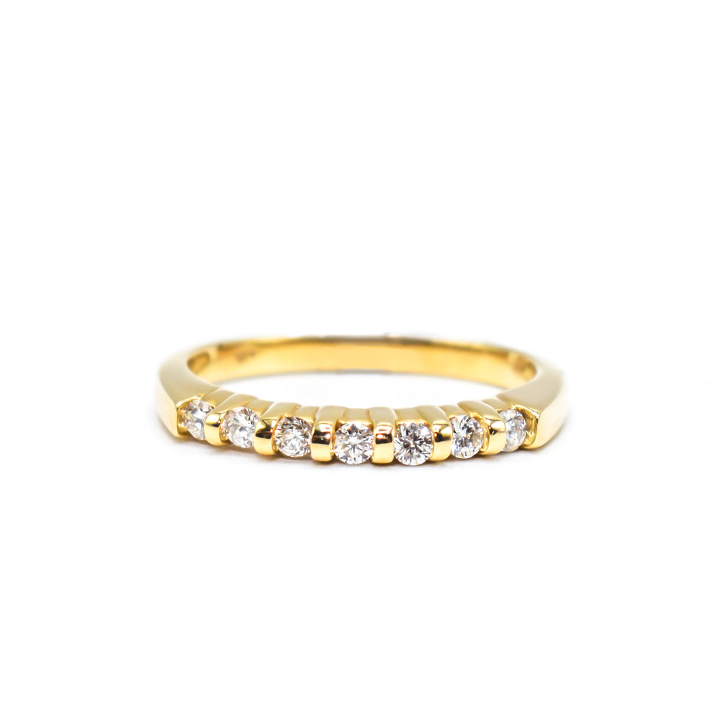14K Gold Wedding Band with 0.42ct of Diamonds