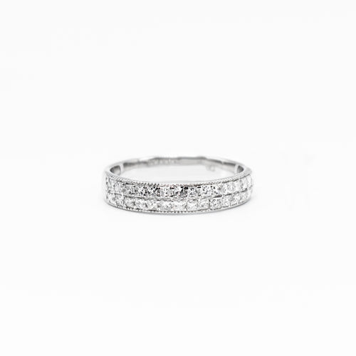 14K Gold Wedding Band with 0.58ct of Princess Cut Diamonds