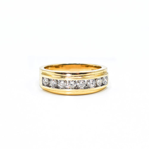 14K Gold Men's Ring with 0.87ct of Diamonds