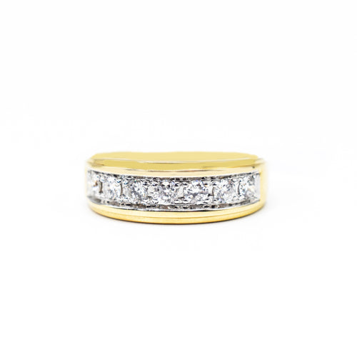14K Gold Men's Band with 0.90ct of Diamonds