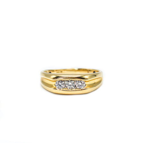 14K Gold Men's Ring with 0.50ct of Round Diamonds
