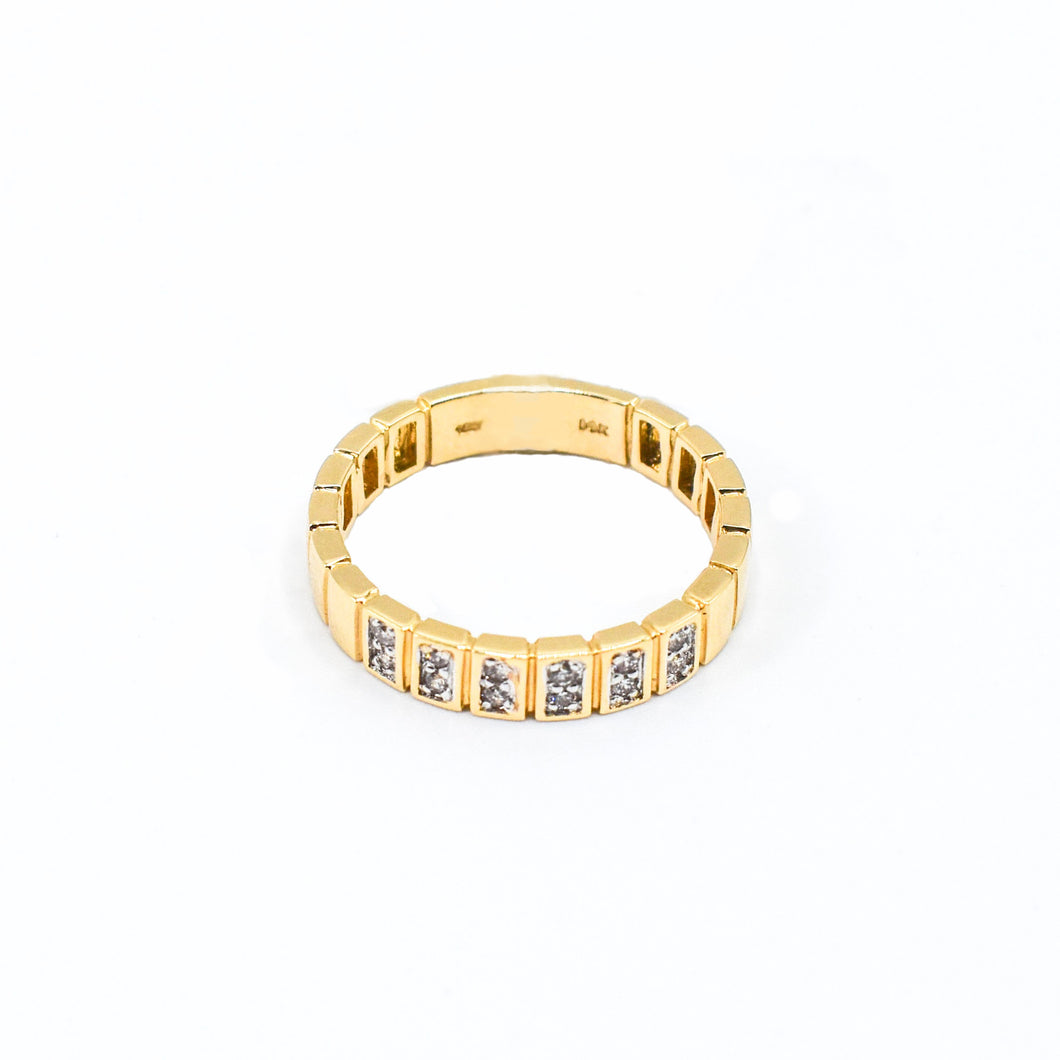 14K Gold Band with 0.15ct of Diamonds