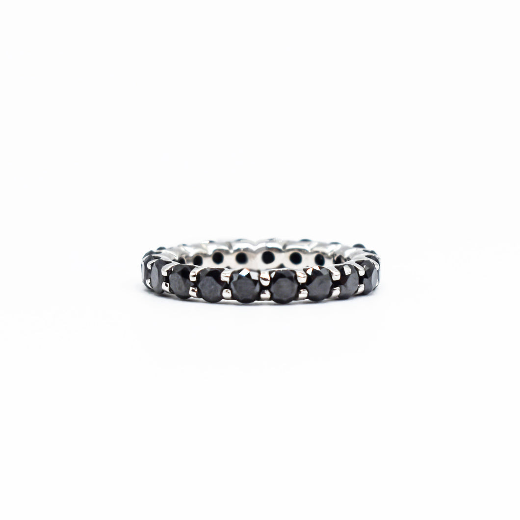14K Gold Eternity Ring with 1.75ct of Black Diamonds