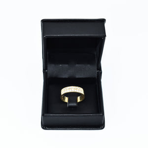 14K Gold Band with Two Rows of 0.75ct Round Diamonds