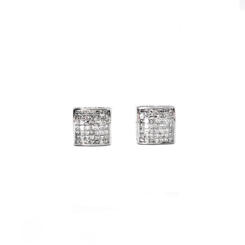 14K Gold Princess Cut Diamond Earrings with 1.0ct of Diamonds
