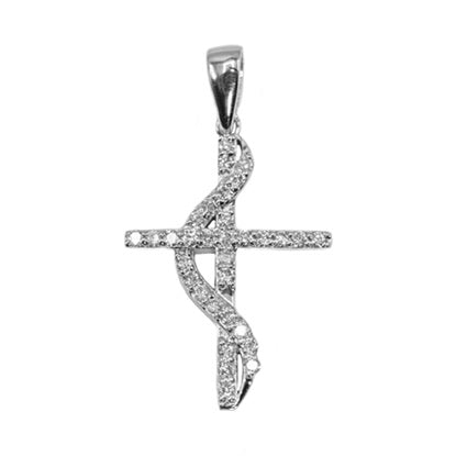 Micro Twisted Diamond Cross Set in 14K Gold with 0.33ct of Diamonds