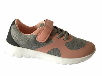 KIDS Peach & Grey Trainers - Glo Selections Kids Shoes