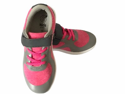 Girl Pink & Grey Trainers - Glo Selections Kids Shoes