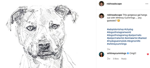 Whitney Cummings reaction to rebheadscape sketch of her gorgeous furfriend Ramona!! :)