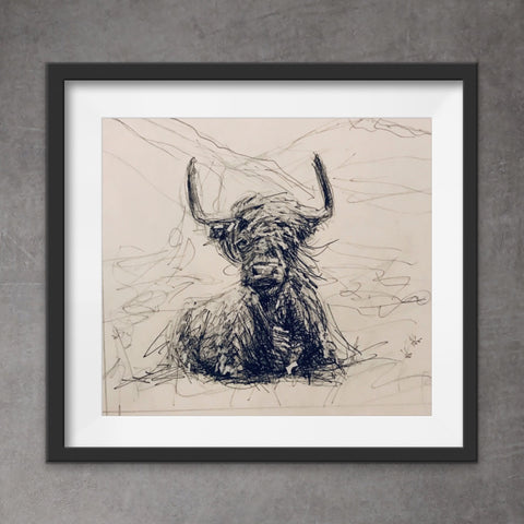 Quirky cow print. Cool, messy style pen and ink drawing of Highland Cow