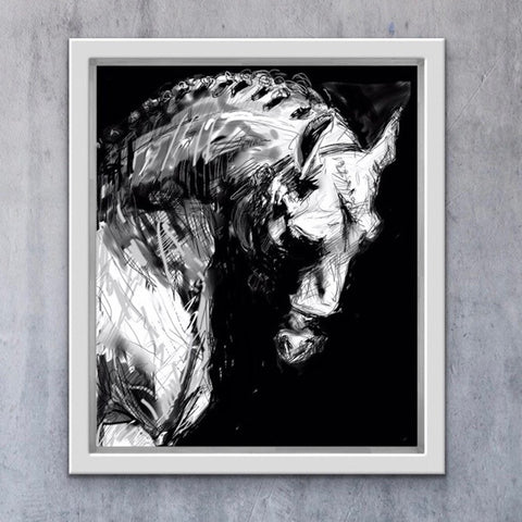Bowed Head Horse, profile of horse, digital painting, horse print