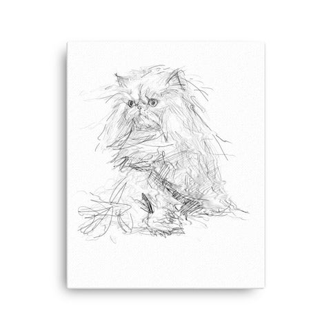 Persian cat print, persian cat canvas, quirky cat art, cat print, cool cat art, cute cat.