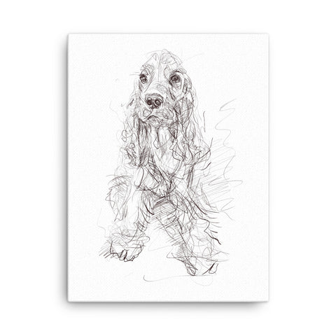 Quirky dog art, cocker spaniel print, cool spaniel art, spaniel print, cute dog, cool dog portrait, dog art, golden cocker spaniel