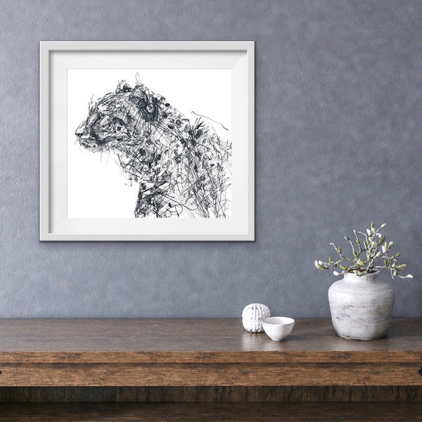 Cheetah print, quirky pen and ink cheetah, cheetah head drawing, cool messy style art