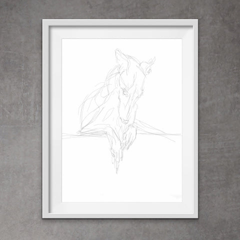 Cool greyhound art - quirky pen and ink print of sighthound. With its unique messy style,