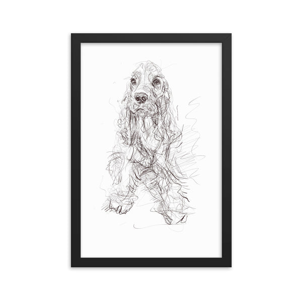 Quirky dog art, cocker spaniel print, cool spaniel art, spaniel print, cute dog, cocker spaniel poster, framed poster spaniel.