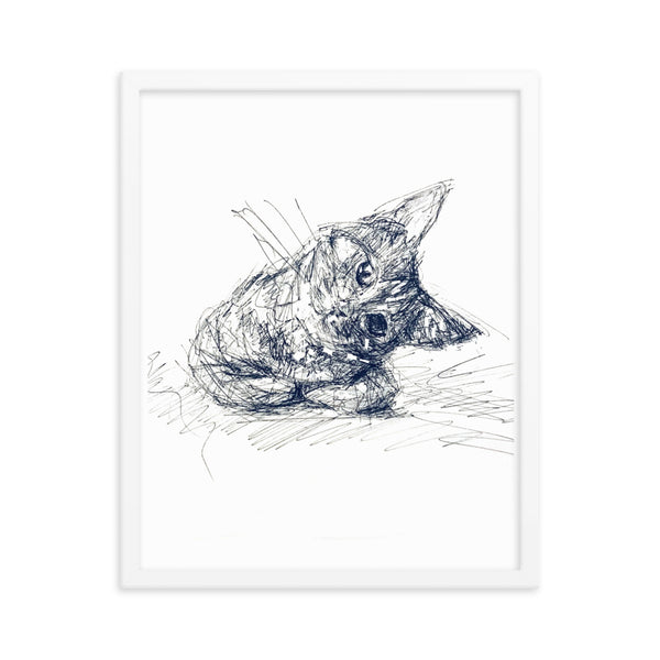 Cat print, cat poster, quirky cat art, cat print poster, cool cat art, cute cat, cat framed poster.
