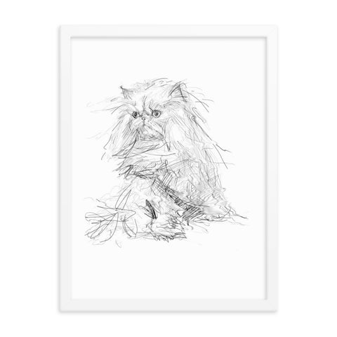 Persian cat print, persian cat framed poster, quirky cat art, cat print, cool cat art, cute cat.