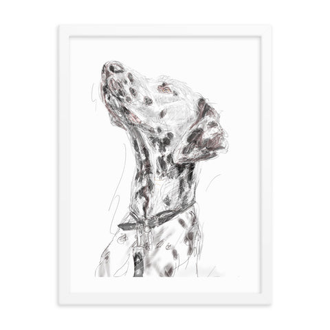 Quirky dog art, Dalmatian print, cool Dalmatian art, Dalmatian print, cute dog, cool dog portrait, dog art, Dalmatian framed poster, Dalmatian painting.