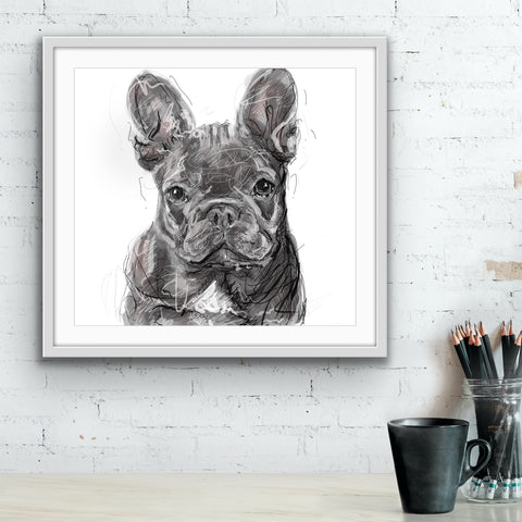 Frenchie Dog Art, French Bulldog illustration, Dog painting, custom Dog Print, Frenchie memorial, Dog Lover Gift