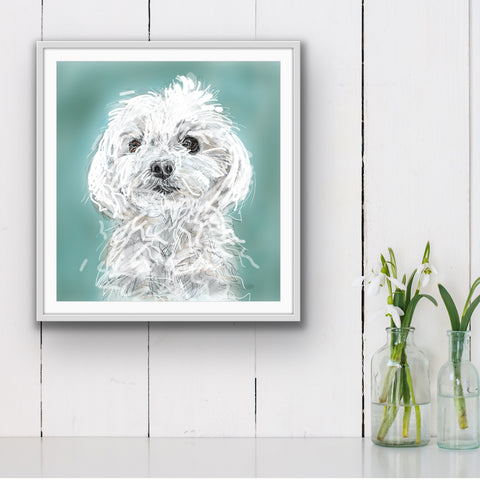 Maltese Dog Art, Personalized Dog painting, custom Dog Print, Maltese memorial, Dog Lover Gift