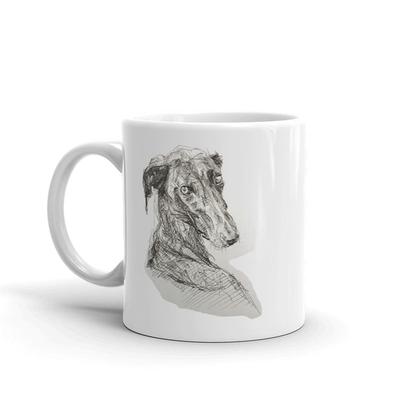 Quirky Galgo Mug, cool greyhound mug by rebheadscape