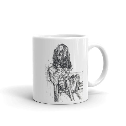 cool bloodhound mug, quirky dog design mug, black and white