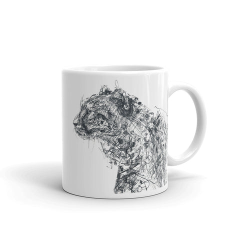 Quirky cheetah mug, cool black and white cheetah mug design