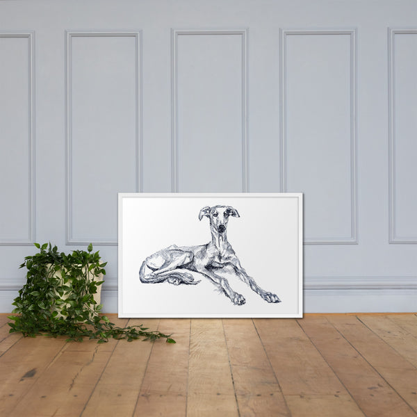 Greyhound print poster, quirky dog art, lurcher print, sighthound print, groovy dog print.