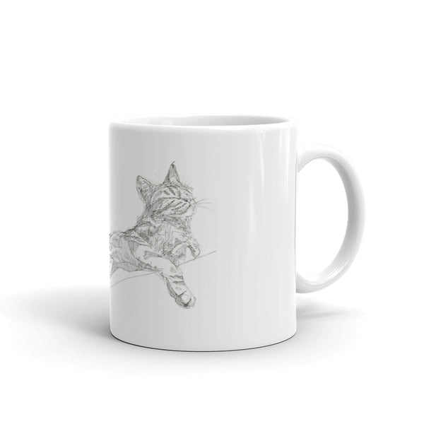 Sprawling Cat Mug, cool stretching cat mug, quirky cat mug, cool cat