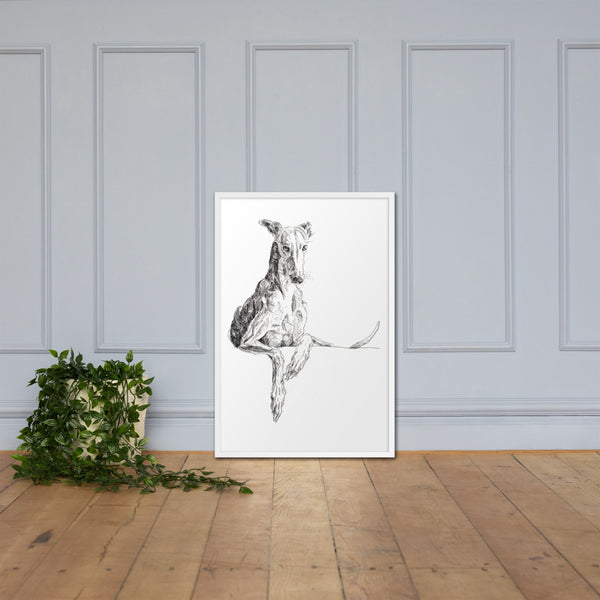 Framed poster cool greyhound print, quirky dog art, lurcher print, funky lurcher whippet art, sighthound print, graceful dog
