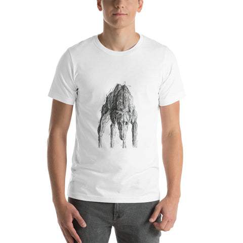 Ready to Run Greyhound Short-Sleeve Unisex T-Shirt. Cool greyhound print on T-Shirt.