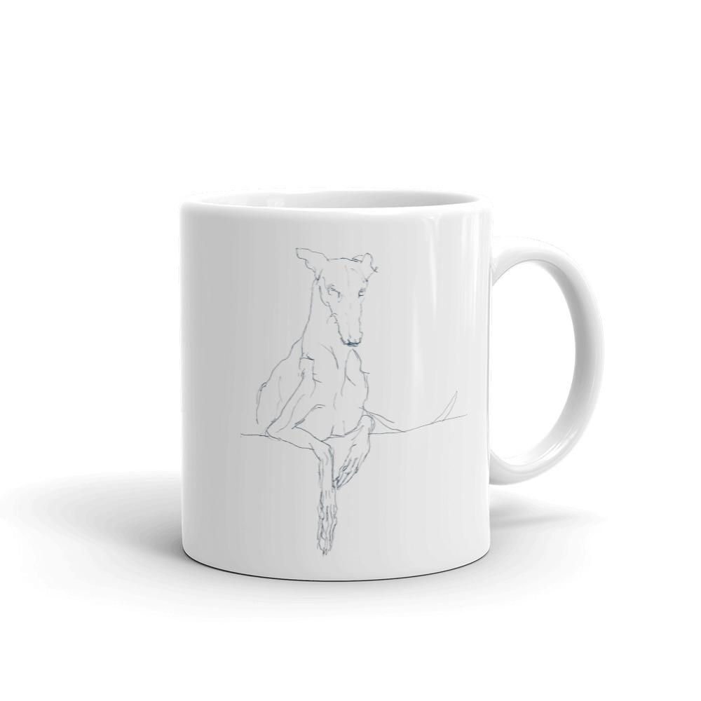 Quirky Greyhound Line Drawing Mug, cool dog art