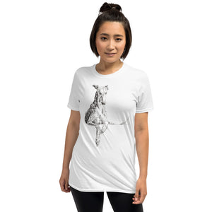 Cool Reclining Greyhound - Short-Sleeve Unisex T-Shirt. Quirky sighthound design.