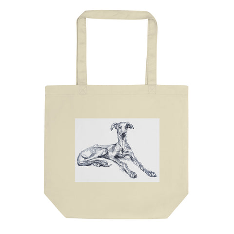 Eco Tote Bag, cool greyhound art, greyhound print, quirky dog art, funky pet portrait,  lurcher print, sighthound print, groovy dog print
