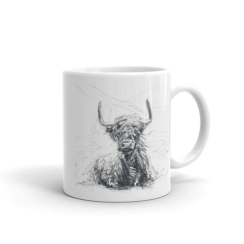 Cool cow mug. Quirky cow design mug. This Highland Cow mug
