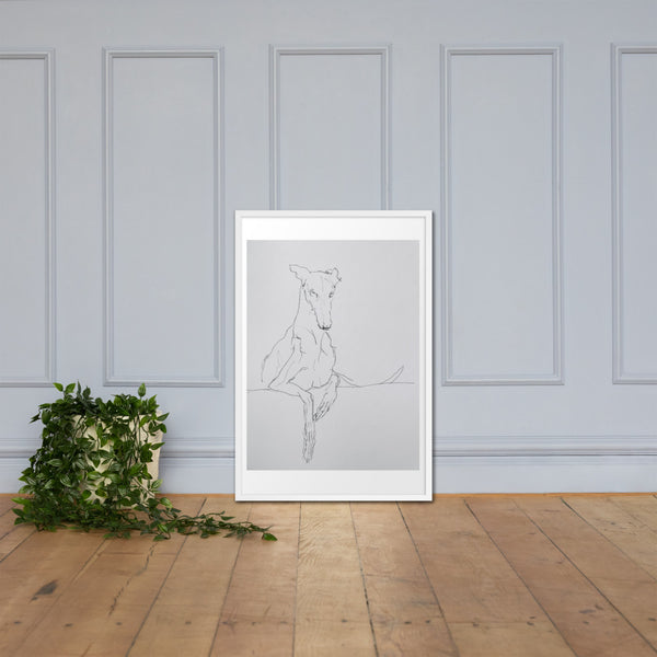 Framed poster of Greyhound Line Drawing