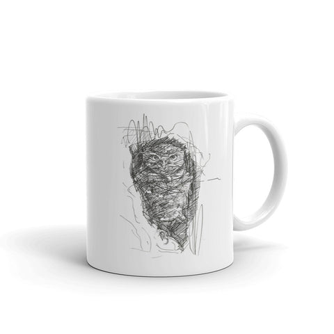 Quirky Owl Mug, Cool Little Owl Mug by rebheadscape