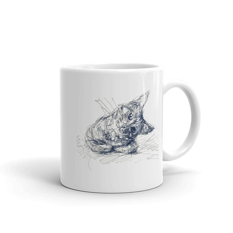Quirky cat, cute cat mug design, cool cat mug