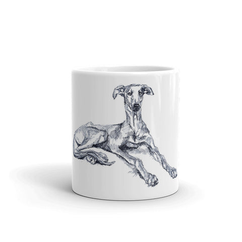 Quirky greyhound mug, cool lurcher mug, funky sighthound mug