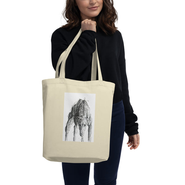 Eco Tote Bag, cool greyhound, quirky greyhound print, funky dog art in unique style, bold scribbly style dog art, sighthound